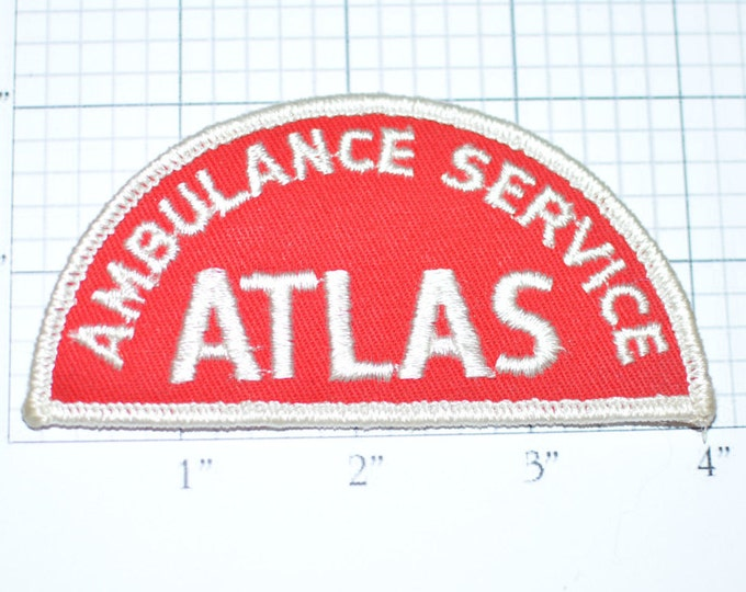 ATLAS AMBULANCE Service - Red Driver Sew-On Embroidered Vintage Patch *Limited Stock*  fd1
