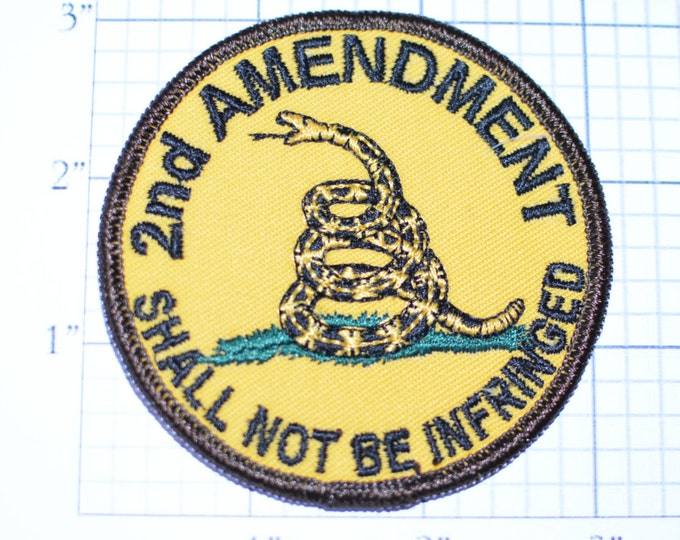 2nd Amendment (Right to Bear Arms) Shall Not Be Infringed - Iron-On Embroidered Clothing Patch - Biker Patch Motorcycle Patch Snake Guns oz2