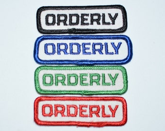 ORDERLY Vintage Sew-on Embroidered Patch Uniform Patch Hospital Patch Attendant Patch Military Patch Clothing Patch Medical Patch nam21