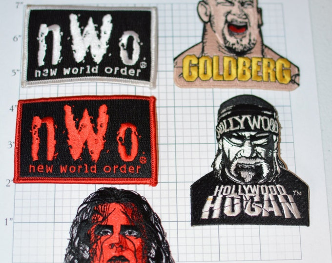 nWo Iron-on Embroidered Clothing Patches, Licensed 1998 Vintage Red, Silver,Bill Goldberg Wolfpac Sting WWE WCW World Championship Wrestling