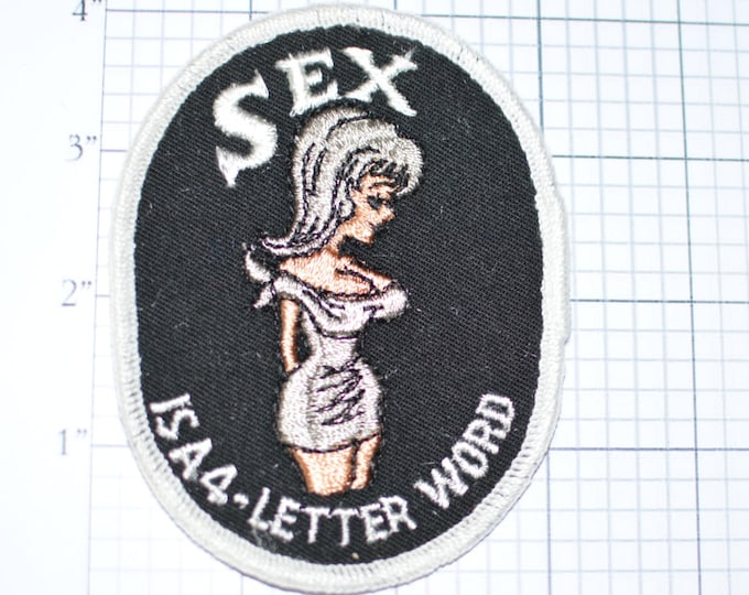 Sex is a 4-Letter Word (Black Background/ White Border) - Funny Flirty Naughty Sexual Icebreaker Sew-On Vintage Patch -  e14a