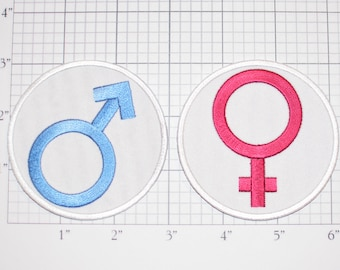 Venus (Female) Mars (Male) Solar System Symbols Embroidered Iron-On Clothing Patches (Set of 2) Man Men Boy Women Girl Baby Infant Emblem