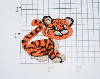 Orange Tiger Cute Sew-On Vintage Embroidered Clothing Patch for Jean Jacket Backpack Hat Shirt Animal Applique Sewing Accessory Kids Clothes