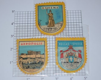 Greece Souvenir Vintage Sticker Decal Crest Lot (3 Pieces - Athens, Hellas, Akropolis) for Luggage, Memory Box, Scrapbook Keepsake Memento