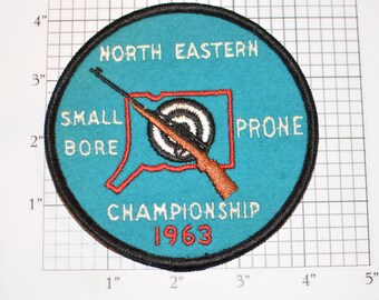 North Eastern Small Bore Prone Championship 1963 Rare Sew-on Vintage Embroidered Patch Shooting Competition Award (Connecticut) CT Crest
