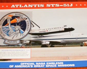Space Shuttle Atlantis (Maiden Flight) STS-51J DISCONTINUED Mint NASA Space Mission Patch w/ Statistics and Fact Card Collectible Memento