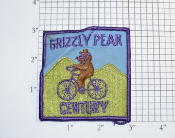 Grizzly Peak Century Vintage Embroidered Sew-on Patch Cyclist Club Event Souvenir Bicycle Cycling Collectible Moraga California Bike Emblem