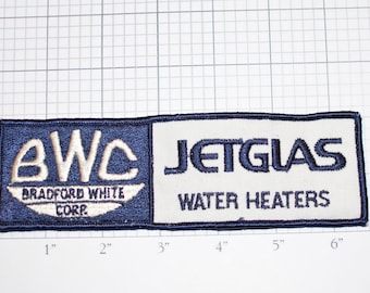BWC Bradford White Corp Jetglas Water Heaters Vintage Sew-on Embroidered Clothing Patch for Uniform Shirt Jacket Vest Emblem Logo Insignia