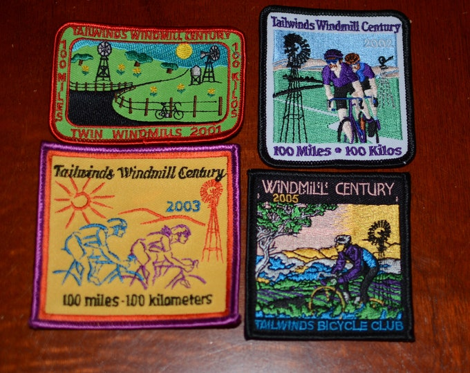 Tailwinds Bicycle Club (Santa Maria California) Twin Windmills Century Embroidered Clothing Patch Cycling Keepsake Rider Collectible Memento