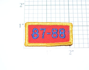 87-88 (1987 1988) Small Sew-On Vintage Embroidered Clothing Patch Rocker Tab Jacket Vest Shirt Uniform  Milestone Anniversary Birthday Year