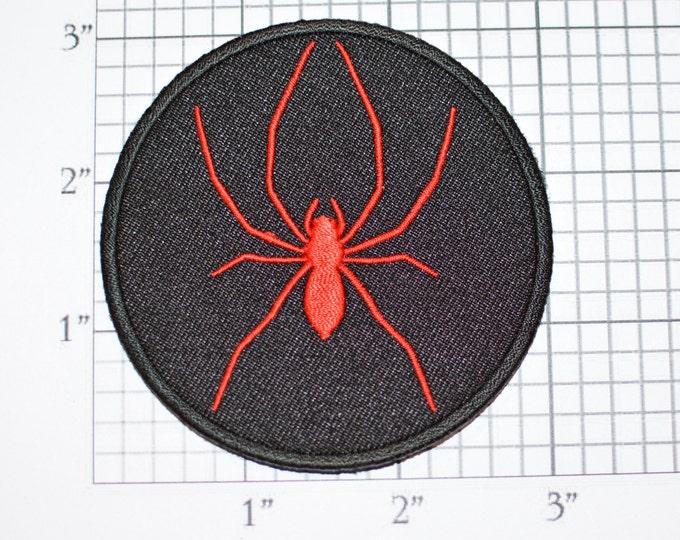 Red Spider Iron-on Embroidered Patch Motorcycle Biker Jacket Vest Arachnid Dangerous Black Widow Wolf Brown Recluse Tarantula Emblem Logo