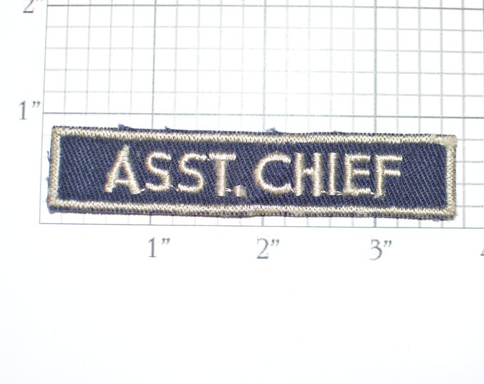 ASST CHIEF Sew-on Vintage Embroidered Patch Uniform Shirt Jacket Cosplay Costume Pocket Tab Text DIY Craft Idea Scrapbook Memorybox Memento
