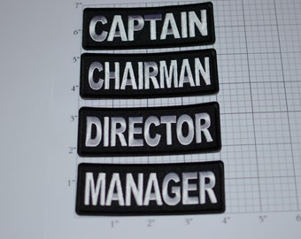 Captain Chairman Director Manager (Choose One) Iron-On Embroidered Clothing Patch Biker Jacket Vest MC Boss Executive Leader Titles Emblem