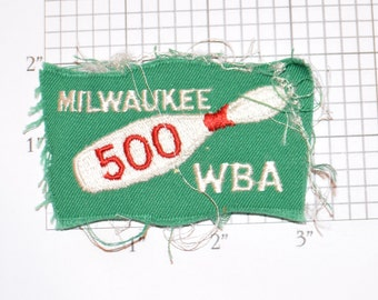 WBA (Women's Bowling Association) Milwaukee 500 Series Award Achievement Sew-on Vintage Embroidered Clothing Patch (Poor/Rough Condition)