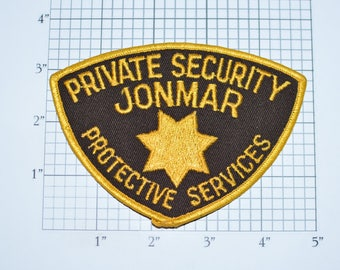 Private Security Jonmar Protective Services Iron-On Vintage Embroidered Uniform Shoulder Patch Jacket Vest Shirt Collectible Souvenir e31J
