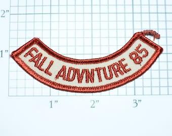 1985 Fall Advnture 85 Vintage Embroidered Iron-on Clothing Applique Patch Rocker Tab Cub Boy Scouts BSA Uniform Shirt Vest Hat Emblem e30k