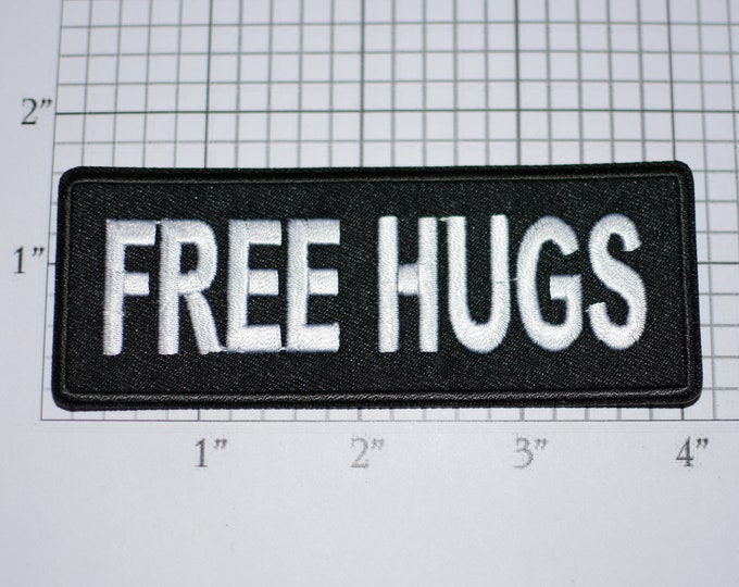 FREE HUGS Iron-On Embroidered Clothing Patch for Biker Jacket Vest MC Shirt Hat Bag Warm Inviting Hugging Hugger Flirty Affection Embrace