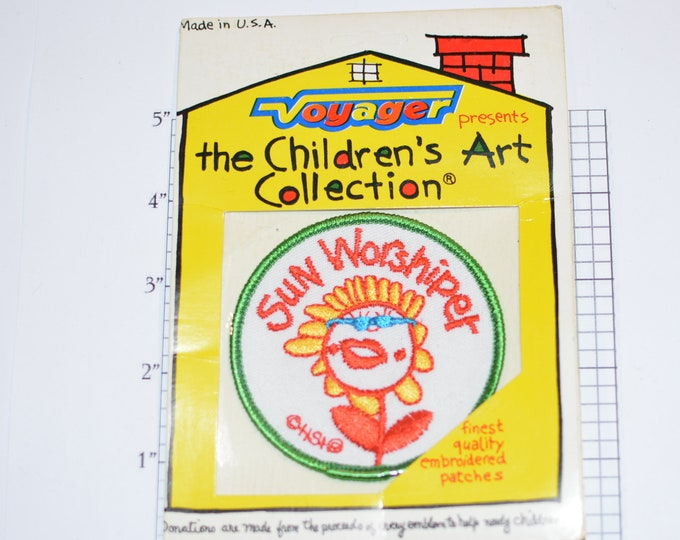 """Voyager """"Sun Worshiper"""" Flower Sew-on Vintage Embroidered Clothing Patch (Mint, Original Package) The Children's Art Collection Cute Fun"""
