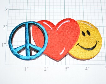 Peace Love Happiness Iron-On Embroidered Vintage Clothing Patch Jacket Patch Hippie Boho Vest Patch Jeans Patch Backpack Patch Heart e19L