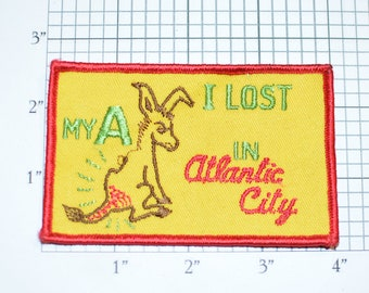 I Lost My A in Atlantic City Sew-On Vintage Embroidered Clothing Patch (Some Thread Damage) Casino Slot Gambling Funny Ass High Roller Poker