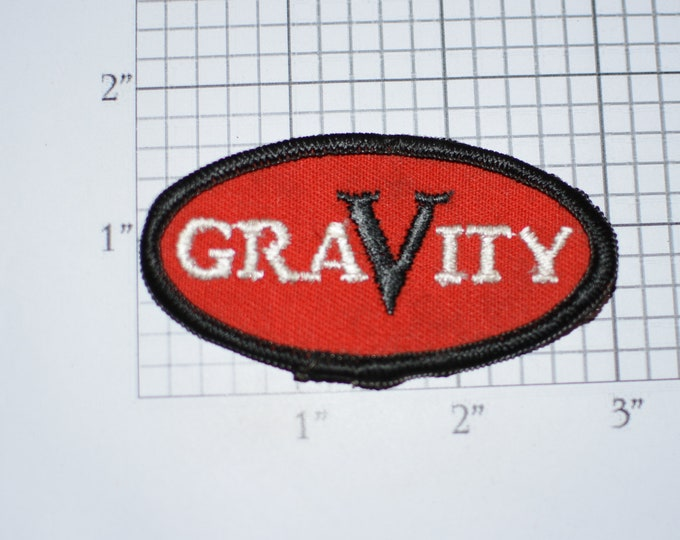 GRAVITY Sew-On Vintage Embroidered Clothing Patch Uniform Jacket Shirt Vest Emblem Workshirt Text Insignia Collectible Logo