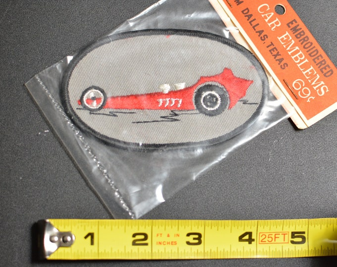 1960's Dal-Emblem Licensed Vintage Top Fuel Dragster Swiss Embroidered Patch Sew-on Applique Sports Car Emblems Automobilia Collectible t1