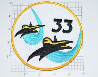 USAF 33 Cadet Squadron CS-33 5 Inch LARGE Iron-On Vintage Patch Black Gold Fighters Blue Contrails Ratz Rare Insignia Cosplay Costume Emblem