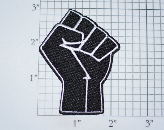 Black Raised Clenched Fist Iron-On Embroidered Clothing Patch Symbol of Solidarity Unity Strength Defiance Resistance for Jacket Vest Shirt