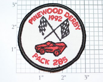 Pinewood Derby 1992 Pack 285 Scouting Embroidered Vintage Iron-on Patch Boy Scouts BSA Collectible Emblem Keepsake Memorabilia Memento Badge