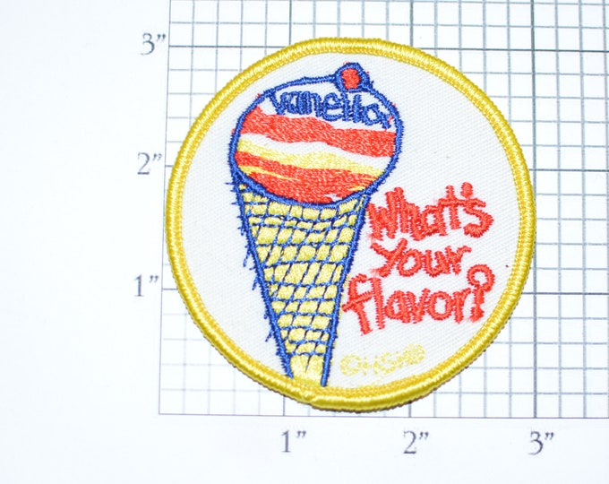 """Voyager """"What's Your Flavor? Vanella"""" Ice Cream Cone Kid's Art Sew-on Vintage Embroidered Clothing Patch (Excellent Condition) HSI Cute Fun"""