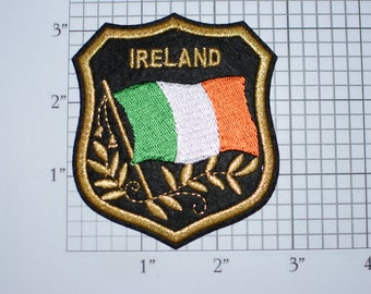 IRELAND Iron-on Embroidered Clothing Patch Flag in Shield Design w/Metallic Gold Threading Beautiful Travel Trip Tourist Souvenir Memento