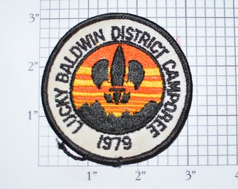 Lucky Baldwin District Camporee 1979 BSA Sew-On Vintage Embroidered Clothing Patch Uniform Shirt Vest Jacket Boy Scouts Scouting Badge e33L