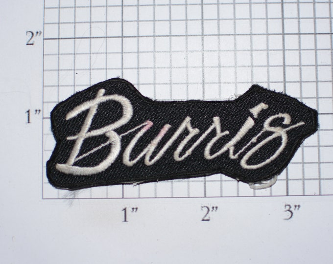 Burris Text Iron-On Embroidered Authentic Vintage Clothing Patch (Slightly Stained Red) Collectible Emblem Insignia Work Shirt Jacket Crest