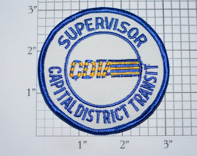 Supervisor Capital District Transit CDTA (Albany, New York) Iron-on Vintage Embroidered Clothing Patch Public Transportation Collectible