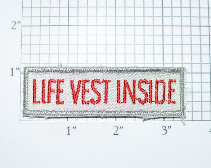 Life Vest Inside Sew-On Vintage Embroidered Patch Airplane Boating Flotation Swimming Pool Lifeguard Beaches DIY Craft Project Emblem e32b