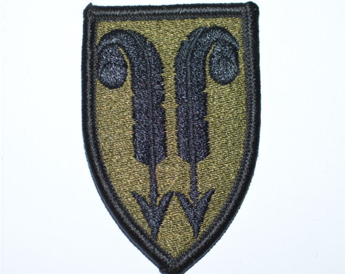 Army 22nd Support Brigade, Subdued Iron-On Vintage Embroidered Patch, Military Uniform Shoulder Sleeve Insignia (SSI) BDU ACU Soldier e15c