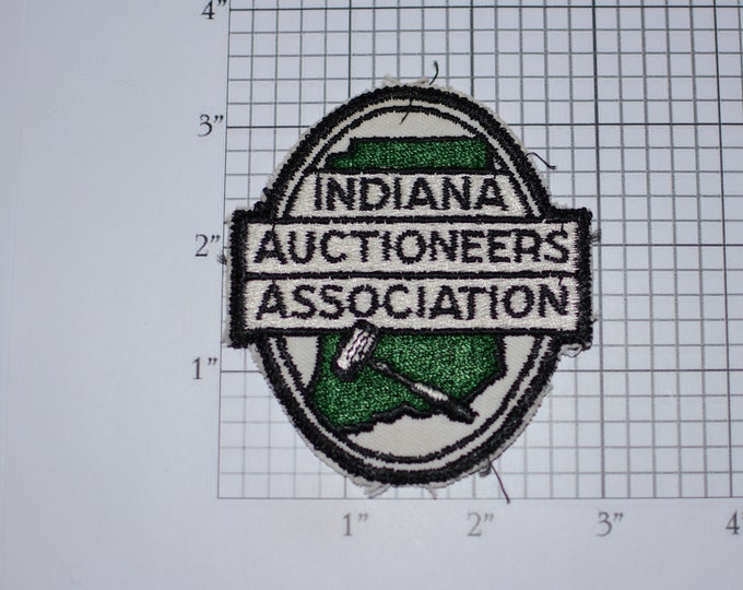 Indiana Auctioneers Association Sew-On Embroidered Clothing Patch Collectible Memorabilia Logo Emblem Insignia Keepsake Memento Collectible