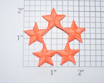 Orange Star Iron-On Vintage Embroidered Clothing Patch Applique DIY Clothes Craft Sewing Project Award Recognition Festive Party Attire Idea