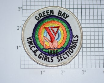 Green Bay YMCA Girls Sectionals Swimming Swimmer 1980 Vintage Sew-on Embroidered Clothing Patch Collectible Emblem Swim Memento Keepsake