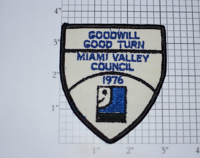 Goodwill 1976 Good Turn Day Miami Valley Council Sew-On Vintage Embroidered Clothing Patch for Jacket Vest Shirt BSA Boy Scouts Collectible