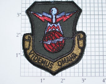 Videmus Omaha (Omnia Misprint) Sew-On Vintage Embroidered Clothing Patch USAF Offutt AFB 55th Wing Nebraska Militaria Collectible Logo e28a