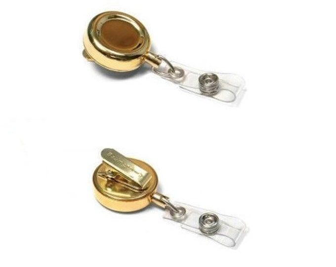 Baumgartens Gold Retractable ID Badge Reel, Doctor, Lawyer, Nurse, Guard ID Badge Pull, Plain Gold Posh Wholesale Bulk Lot Sale (3 or More)