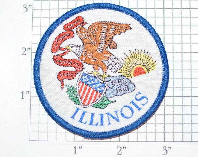 Illinois Sew-On Vintage Travel Patch - Eagle 1868 1818 *Only 1 Available* Trip Souvenir Keepsake Gift Idea Emblem Logo Crest
