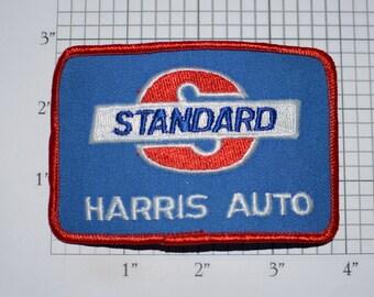 Standard Harris Auto Iron-On Vintage Embroidered Clothing Patch for Employee Uniform Jacket Emblem Logo Work Shirt Garage Mechanic Tech
