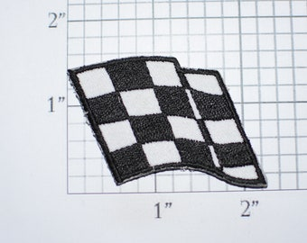 Racing Checkered Flag Vintage Iron-On Patch Black & White Starter Official Flagstand Marshall Race Winner Fast Quick Victory Jacket Logo