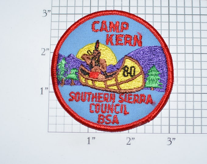 Camp Kern Southern Sierra Council California BSA Sew-On Vintage Embroidered Clothing Patch Uniform Shirt Jacket Boy Scouts Badge Canoe 1980