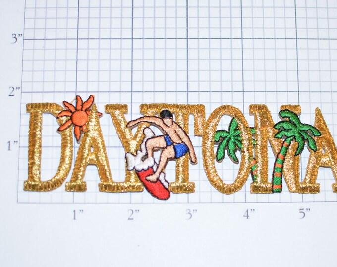 Daytona (Florida) Surfer, Beautiful Metallic Gold Thread Iron-on Embroidered Clothing Patch Travel Souvenir Trip Gift Scrapbook Keepsake