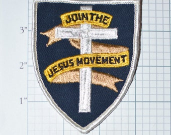 Join The Jesus Movement Sew-On Vintage Patch Christian Religious 1970s Hippie - e13  **Limited Stock**