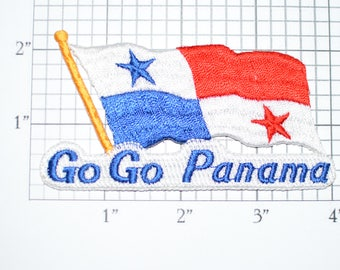 Go Go Panama Iron-On Vintage Embroidered Travel Patch Emblem Badge Flag Tourist Trip Souvenir Gift Idea Collectible Vacation Holiday e25f