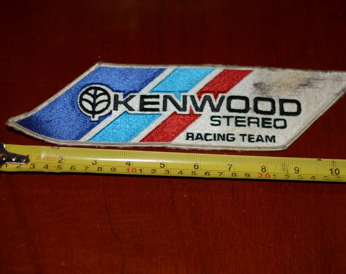 Kenwood Stereo Racing Team Vintage Embroidered Patch (Worn/Stained) Iron-on Sleeve or Back Patch Emblem Collectible for Car Guy Racing Fan
